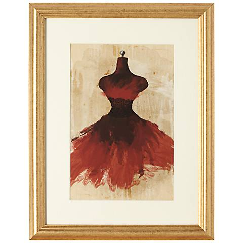"""Red Couture Fashion 18"""" Gold Framed Wall Art"""