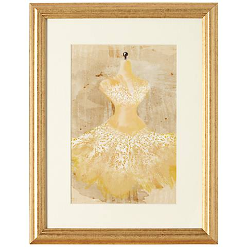 "Yellow Couture Fashion 18"" Gold Framed Wall Art"