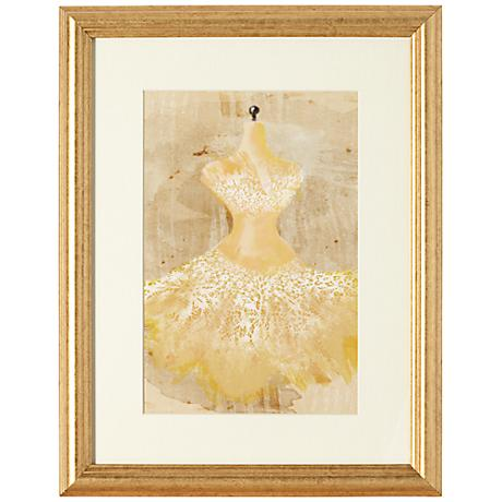 """Yellow Couture Fashion 18"""" Gold Framed Wall Art"""