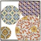 "Purple and Orange Circular Design 18 1/4"" Square Wall Art"