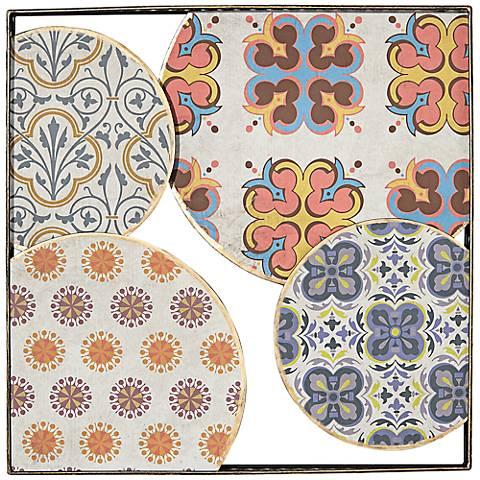 "Blue and Orange Circular Design 18 1/4"" Square Wall Art"