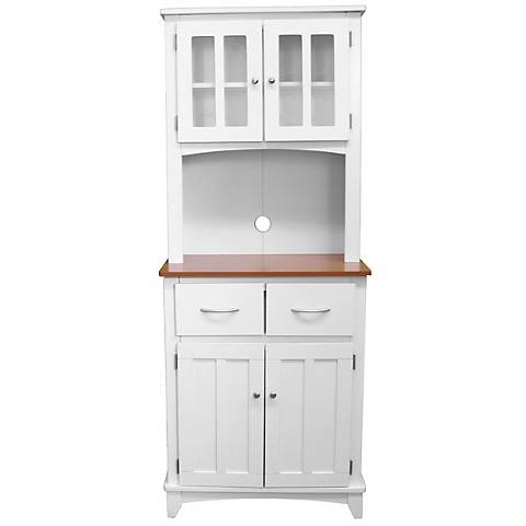 Oak Hills Tall White Microwave and China Cabinet