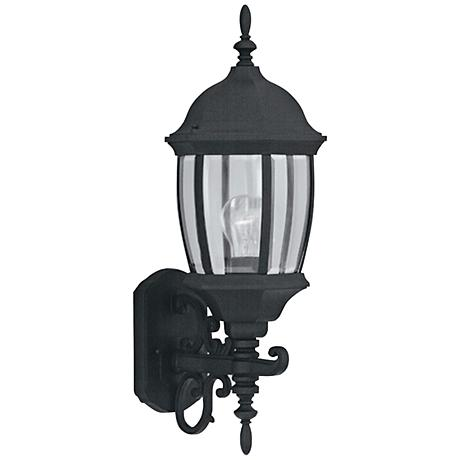 """Tiverton 21 1/2""""H Clear Glass Black Outdoor Wall Light"""