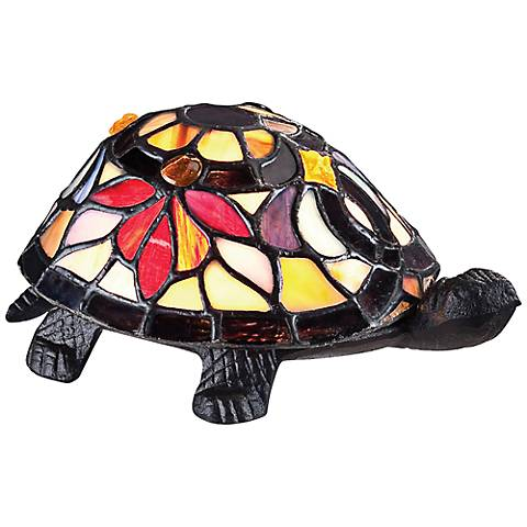 "Quoizel 3 1/2""H Turtle Tiffany Style Accent Lamp"