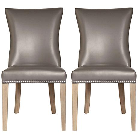 Set of 2 Avery Pebble Bonded Leather Dining Chairs