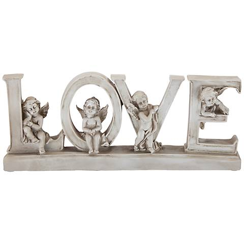 "Love 12"" Wide Decorative Shelf Sculpture with Angels"