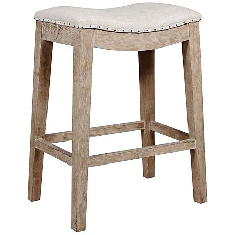 """Harper 27"""" Stone Wash French Linen Counter Stool"""