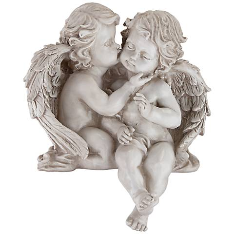 "Embracing Angels 9 3/4"" High Shelf Sitter Sculpture"