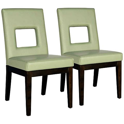 Set of 2 Window Sage Bycast Leather Dining Chairs