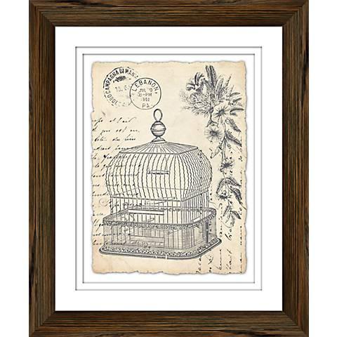 "Vintage Birdcage II 23 1/2"" Framed Giclee Wall Art"