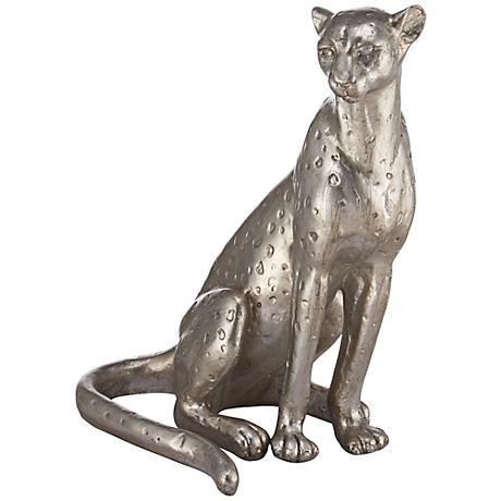 """Silver Leopard 11"""" High Sculpture"""