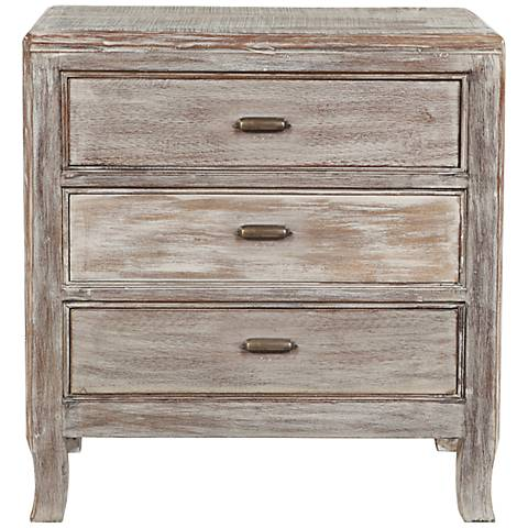Aria Hand-Finished Distressed Wood 3-Drawer Nightstand