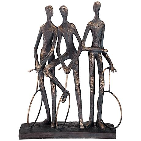 """Unicycle Riders 14"""" High Aged Gold Sculpture"""