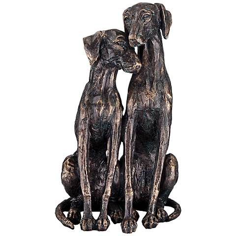 """Snuggling Sighthounds 11 1/4"""" High Bronze Dog Sculpture"""