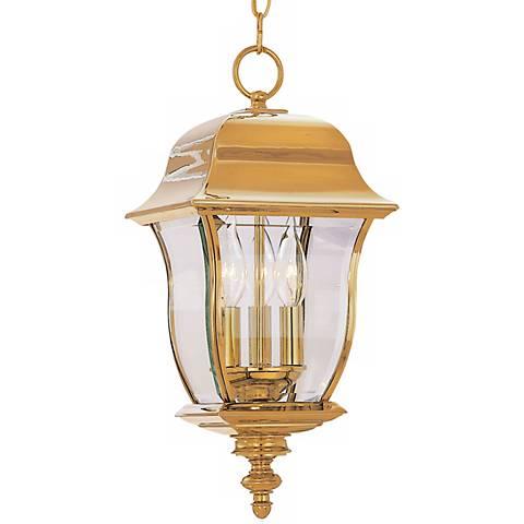 """Gladiator 21""""H Polished Brass Outdoor Hanging Lantern"""