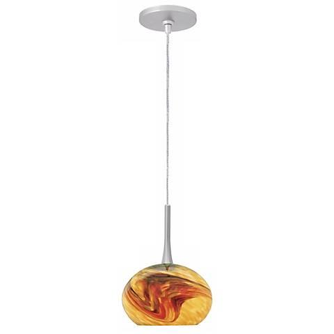"LBL Neptune I 5"" Wide Amber Glass Monopoint Mini Pendant"