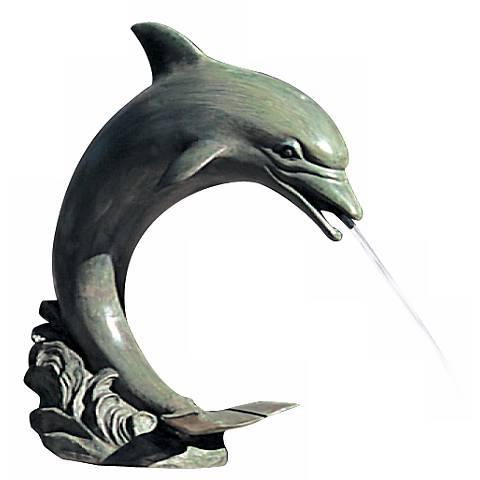 """Medium 20"""" High Single Dolphin Pond Fountain Accent"""
