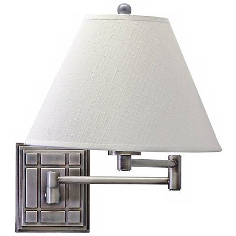 Grid Panel Silver Finish Plug-In Swing Arm Wall Lamp
