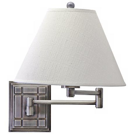 Grid Panel Silver Finish Plug-In Swing Arm Wall Lamp