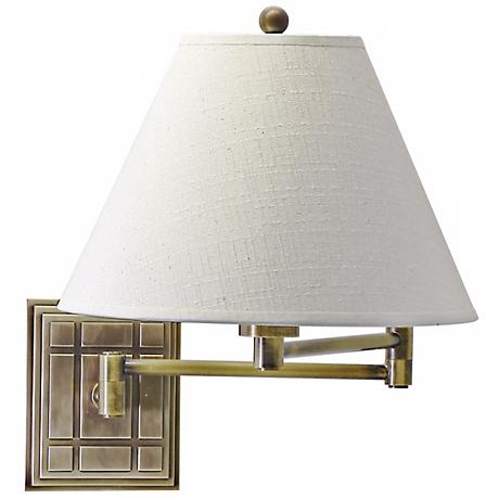 Grid Panel Antique Brass Finish Plug-In Swing Arm Wall Lamp
