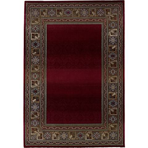Fall Border Red Area Rug