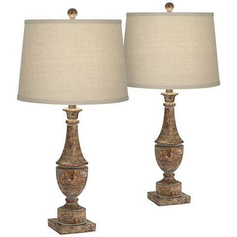 Collier Bronze Aged Patina Table Lamp Set of 2