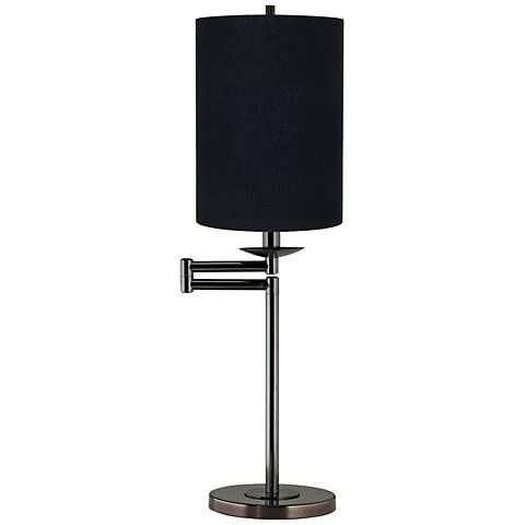 Black Cylinder Shade Bronze Swing Arm Desk Lamp