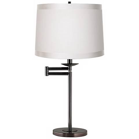 Off White Drum Shade Bronze Swing Arm Desk Lamp