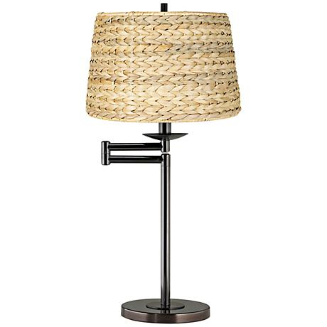 Woven Seagrass Drum Shade Bronze Swing Arm Desk Lamp