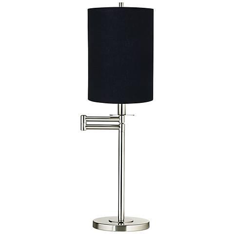 Black Cylinder Shade Brushed Nickel Swing Arm Desk Lamp