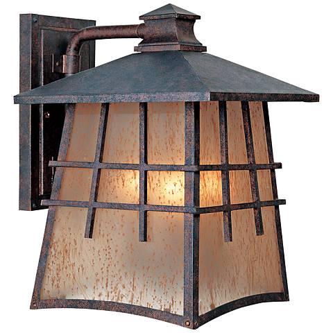 """Oak Park 13"""" High 3-Light Amber Patina Outdoor Wall Light"""