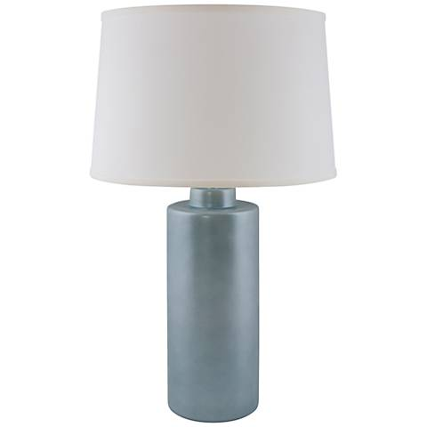 RiverCeramic® Cylinder Smoke Blue Pearl Table Lamp