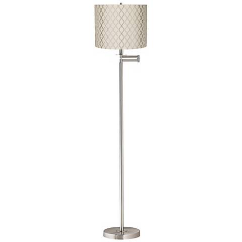 Embroidered Hourglass Brushed Nickel Swing Arm Floor Lamp