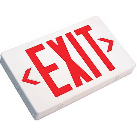 White with Red AC Only LED Exit Sign