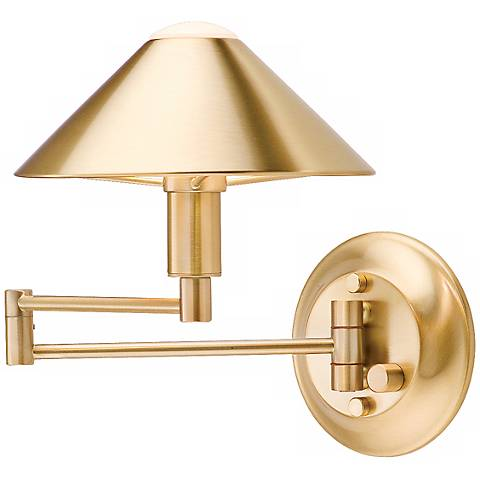 Holtkoetter Brushed Brass Solid Brass Swing Arm Wall Lamp