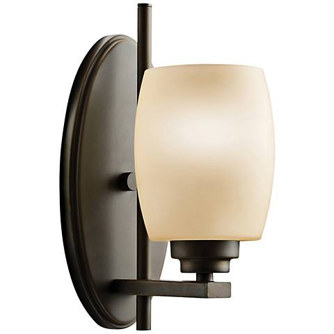 "Eileen Olde Bronze 10 3/4"" High Umber Glass Wall Sconce"