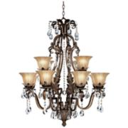 "Iron Leaf 34"" Wide Bronze and Crystal 12-Light Chandelier"