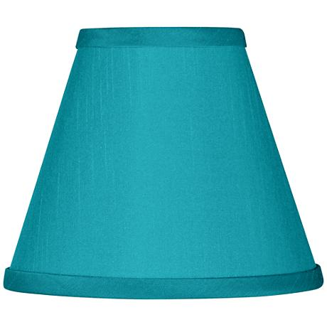 Teal Blue Faux Silk Set Of Four Shades 3x6x5 Clip On
