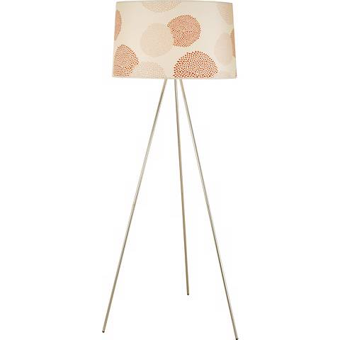 Lights Up! Brushed Nickel Red Mumm Tripod Floor Lamp