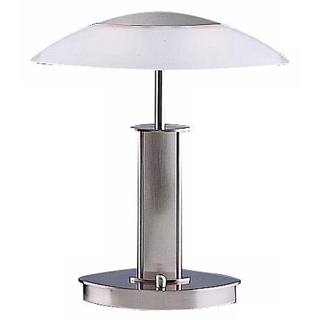 Mini Satin Nickel and White Glass Holtkoetter Desk Lamp