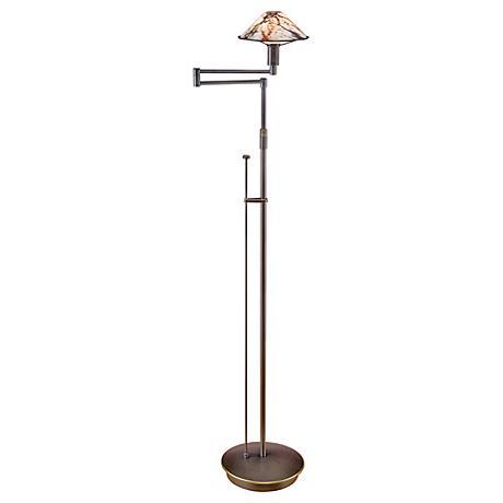 Holtkoetter Old Bronze Marble Glass Swing Arm Floor Lamp