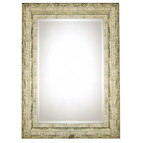 "Uttermost Hallmar Distressed Silver 36"" High Wall Mirror"