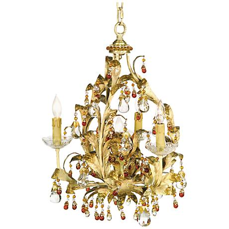 "Ornate 18"" Wide Almond Crystal Chandelier"