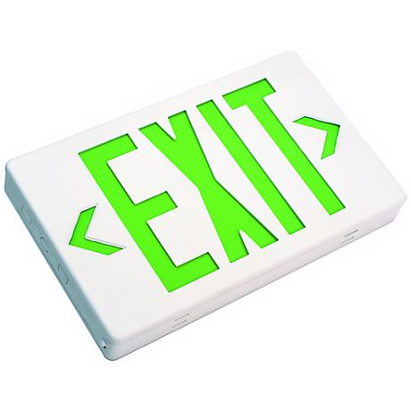 White with Green Top/Side LED Exit Sign with Battery Backup