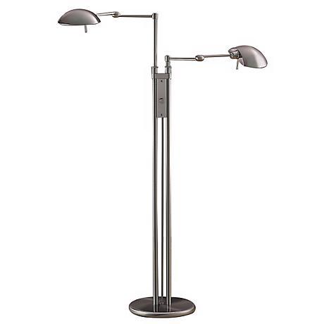 Holtkoetter Halogen Satin Nickel Double Pharmacy Floor Lamp
