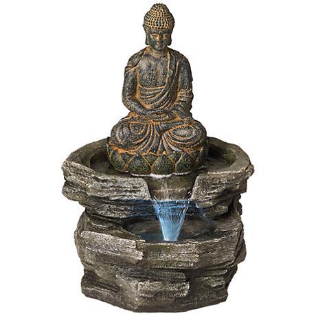 "Sitting Buddha 21"" High LED Water Fountain"