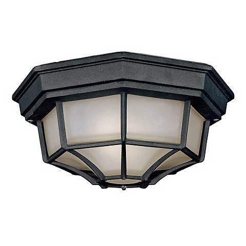 "Black Finish 11 1/4"" Wide Outdoor Ceiling Light Fixture"