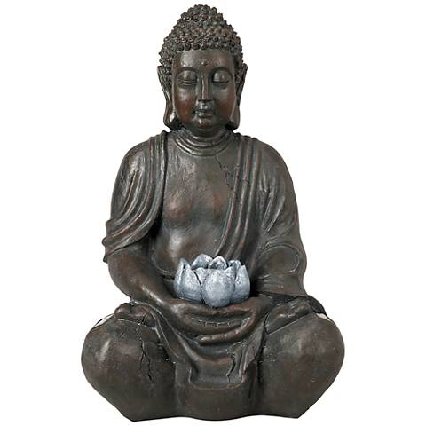 "Sitting Buddha 19 1/2"" High Sculpture with Solar LED LIght"