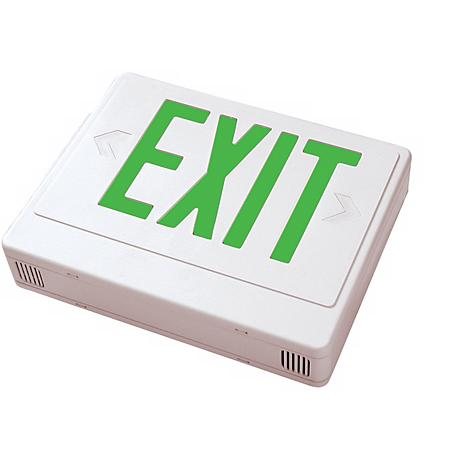 White with Green LED Exit Sign with Battery Backup