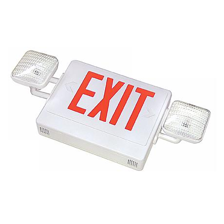 White with Red LED Emergency Light Exit Sign